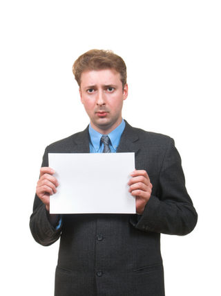 Business man sign blank