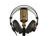 Microphone head set gold crop