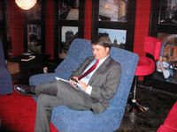 Paul Yeager relaxing in the living room