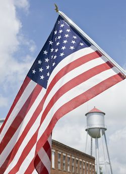 Flag water tower