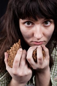Woman Hungry Food