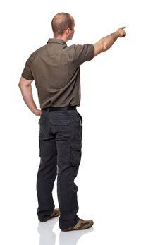 Man Pointing Away