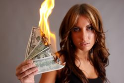 Woman Money Burning