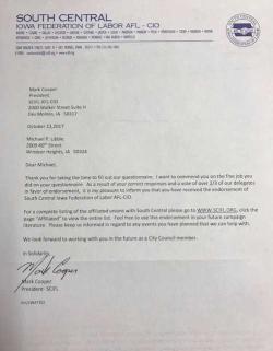 AFL CIO Endorsement